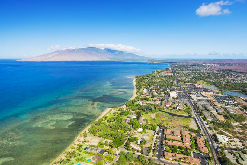 Aerial view of Kihei town