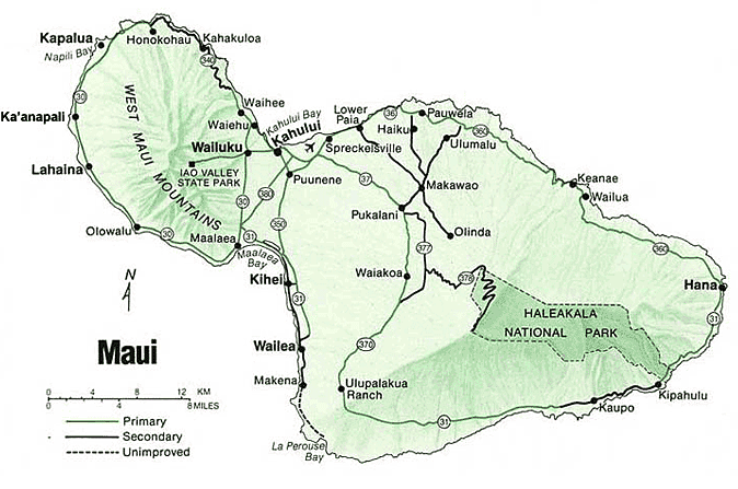 Map of Maui Hawaii.